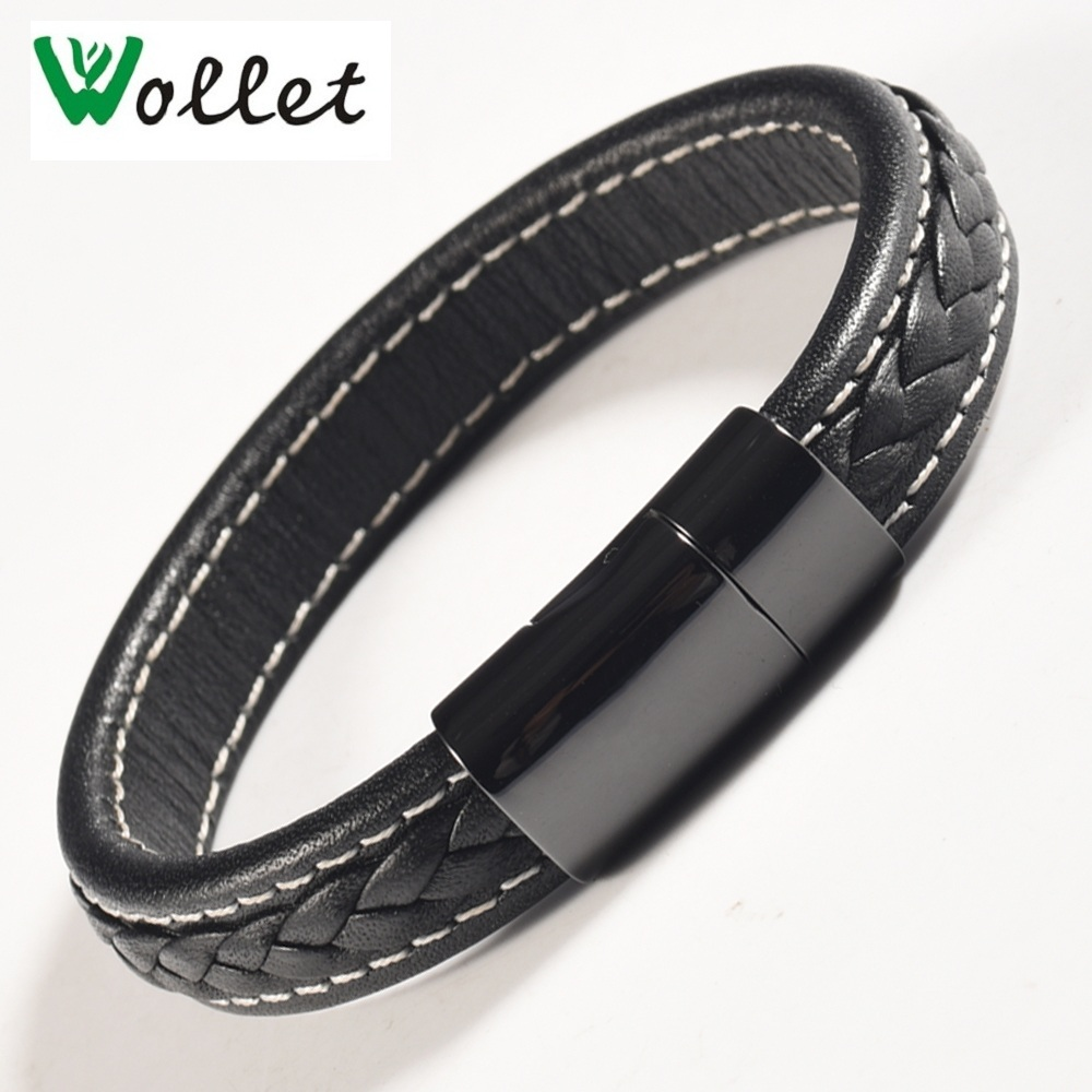 Wollet Jewelry Black Leather Magnetic Bracelet for Men Women Stainless Steel Magnet and Germanium Health Care Healing Energy