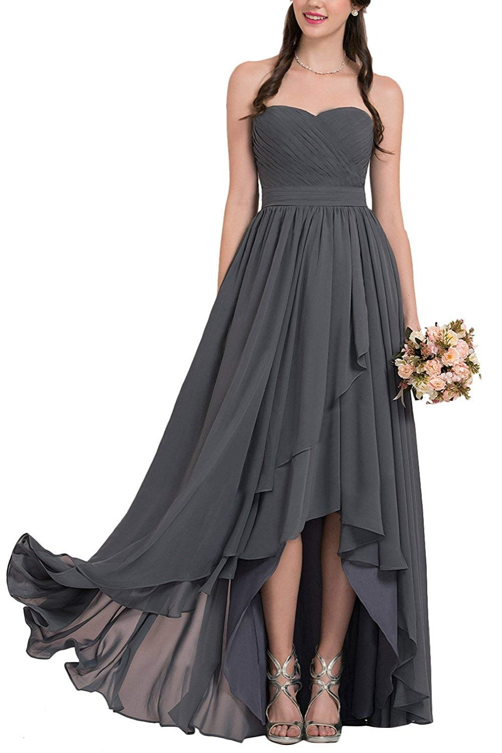 Unique Design Long Chiffon Party Gown Sexy Strapless   Bridesmaid     Dresses   Custom Made