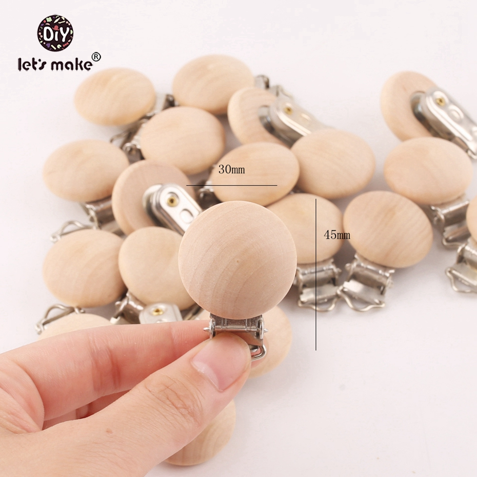 Wooden Baby Clip Pacifier Nursing-Accessories Let's-Make Diy 20pcs Dummy 29--45mm