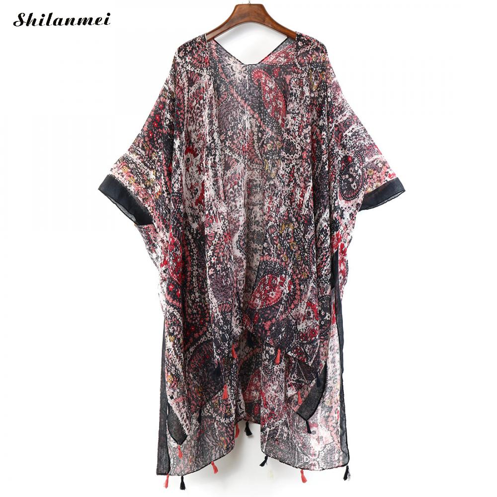 2019 Summer Kimono Cardigan Mujer Boho Beach Tassel Floral Shirt Women 39 s Kimono Long Cardigan Feminino Blouse Bohemian Beach Top in Blouses amp Shirts from Women 39 s Clothing