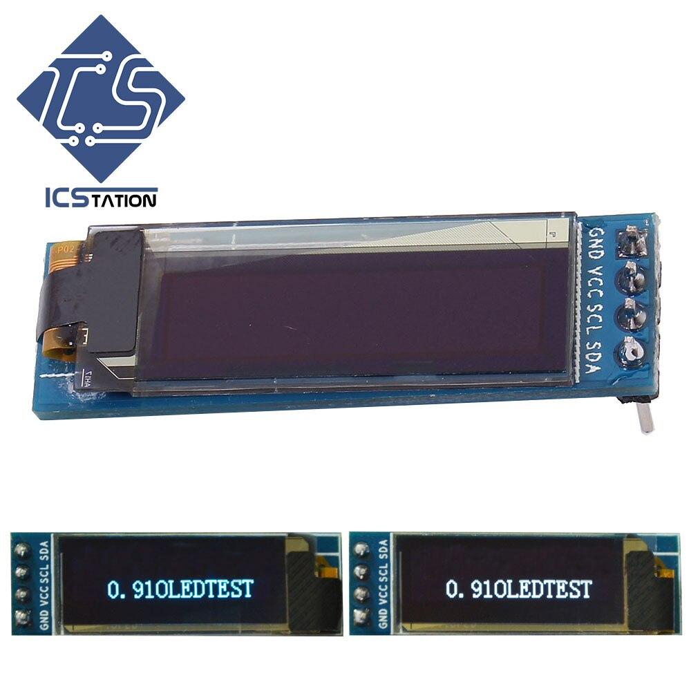 0.91in 128x32 I2C IIC Serial Blue & White Display OLED LCD LED Display Module 0.91 OLED Board