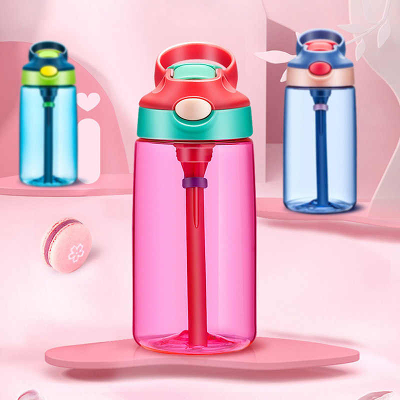 Bidon Crystal Kids Water Bottles With Straw BPA Free Gourde Enfant My Plastic Drink Bottle .Portable Children Student Waterfles