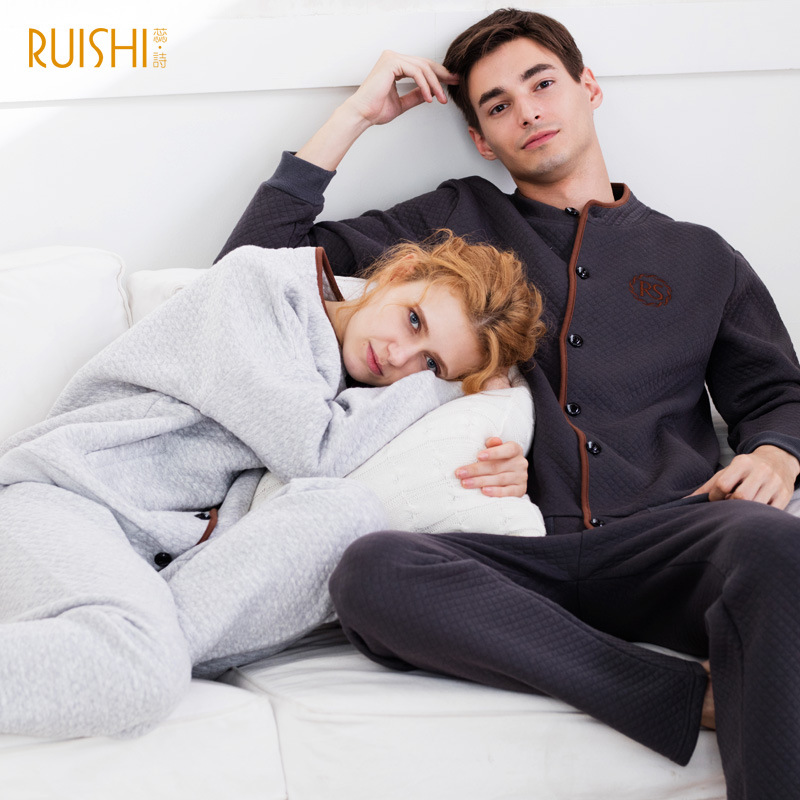 New Couple Matching Pijamas Winter Thick Cotton Cardigan   Pajamas   Women's Cotton Home Wear suit Men And Women Warm   Pajamas     Sets