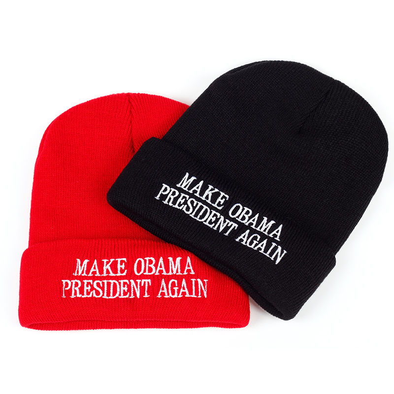 Make Obama President Again embroidery Winter Hat Men   Skullies     Beanies   Unisex Hat Knitted Cap Hats For Women Hat Simple Soft Warm