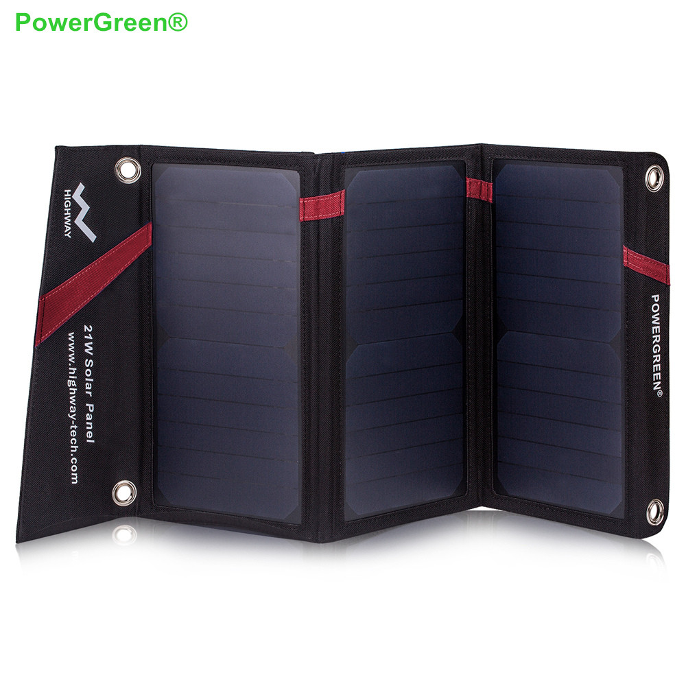 PowerGreen Solar Charger 21 Watts External Battery Backup Foldable Solar Power Bank Solar Cell Solar Bag