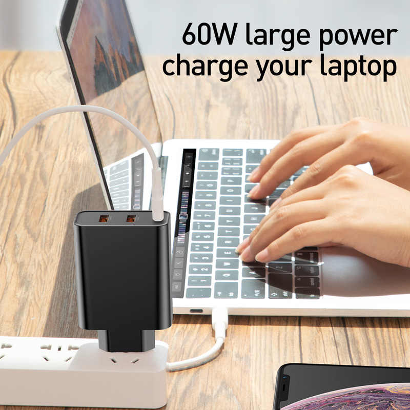BASEUS 60 W Quick Charge 4.0 3.0 USB Charger สำหรับ iPhone Samsung iPad Pro MacBook SCP QC4.0 QC3.0 QC ประเภท C PD Fast Charger