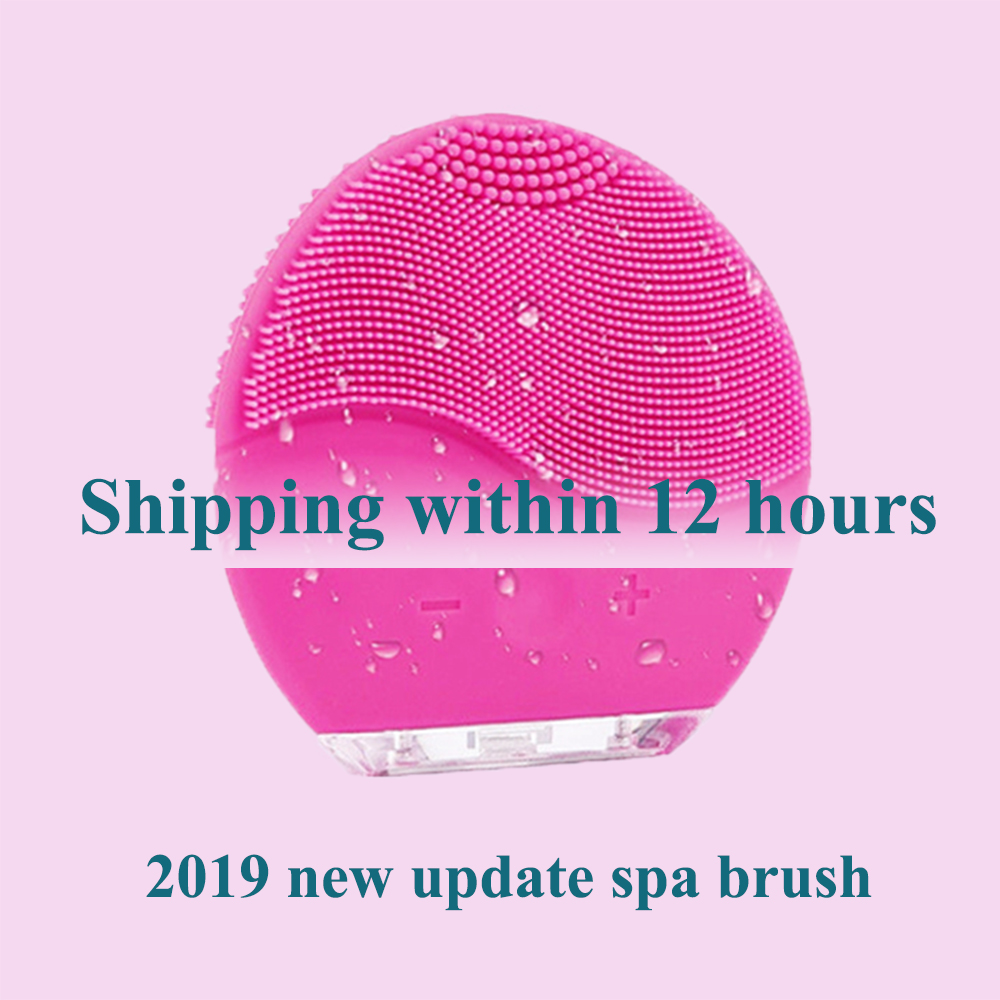 Dropshipping Link Face Spa Brush Electric Waterproof Sonic Massage Silicone Ultrasonic Skin Care Tool Beauty Spa Foreoing