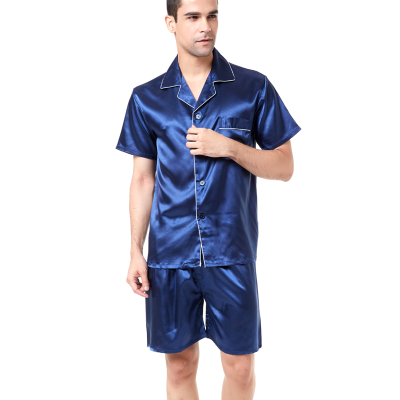 Tony Candice Satin Silk Pajamas Shorts For Men Rayon Silk Sleepwear Summer  Male Pajama Set Soft Nightgown For Men Pyjamas-in Men s Pajama Sets from ... 15ceb983d