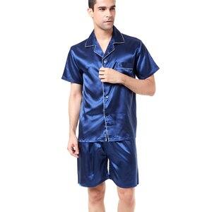 Image 4 - Tony&Candice Satin Silk Pajamas Shorts For Men Rayon Silk Sleepwear Summer Male Pajama Set Soft Nightgown For Men Pyjamas