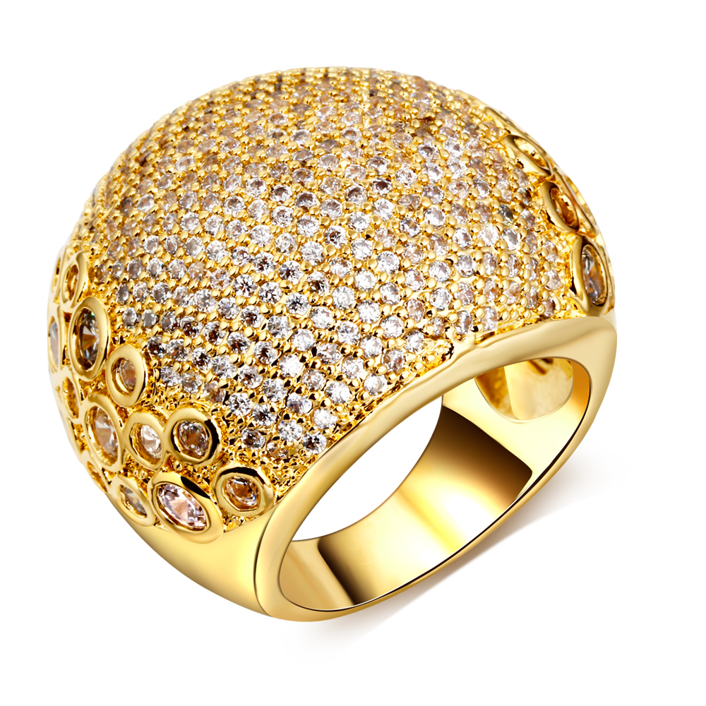 New Cubic Zirconia Stone Big rings Lead Free Gold and White Color ...