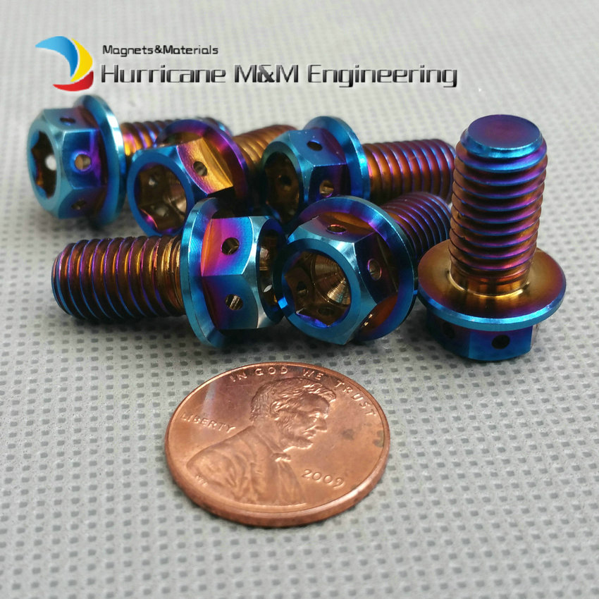 1 Pack M8x15 Motorcycle Ti Bolt Titanium bolts DIY Burned Blue Color Motor Bike Hexagon Hollow Flange Head screws Ti fastener