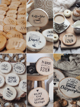 Photography Accessories Props Diameter 4~7cm Wooden Round Piece Heart-shaped Leaf Hello Loved Cool Special Carving Art Drawing