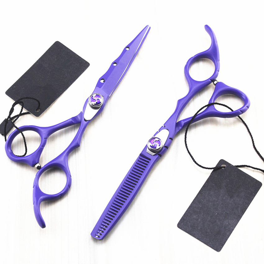 Купить с кэшбэком professional Japan 440c alloy 6 inch hair scissors set makeup scissor thinning hot barber cutting shears hairdressing scissors