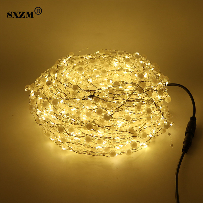 SXZM DC12V 20X2Meter 400leds Led string Light White Pearls DC connector silver wire holiday led outdoor decoration Warm White