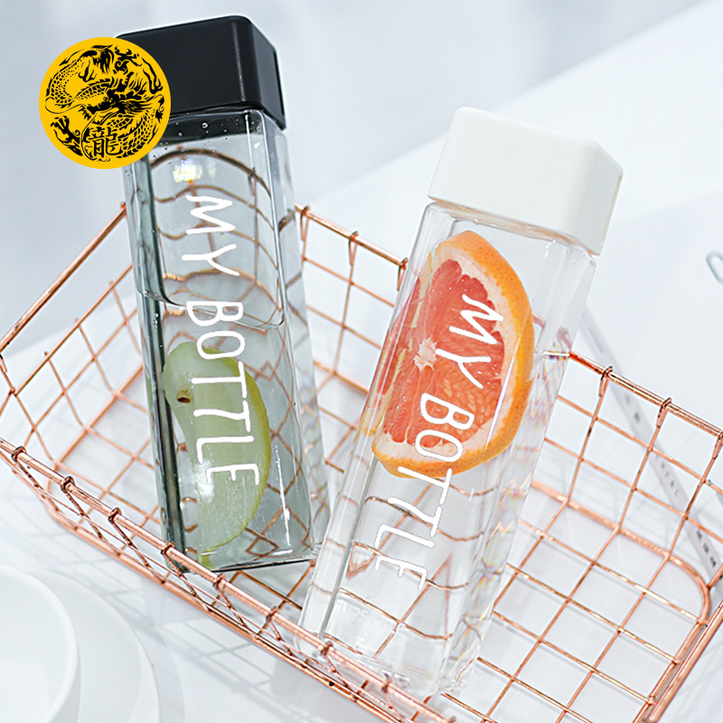 New My bottle Square Plastic Water Bottles to drink 500ml bottle for water With Rope Transparent or Frosted Sport Korean style|Water Bottles| |  - title=