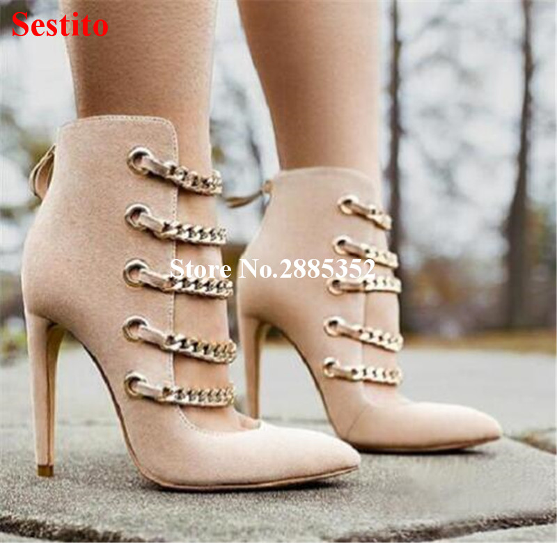 Hot Sale Sexy Mujer Pumps Pointed Toe Mental Chain High Heels Women Pumps Solid Color Zipper Cover Heels Fashion Dress Shoes quelle city walk 827224 page 9