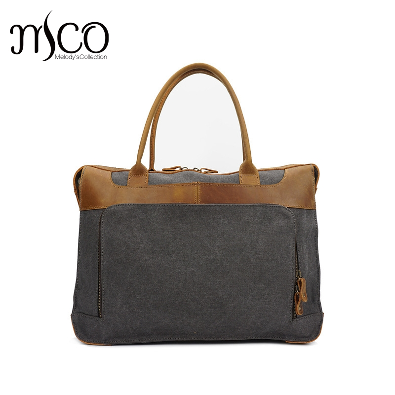 MCO 2018 Vintage Waxed Canvas Men Briefcase Oiled Leather 14~15.6 Inch Bag Business Handbag Waterproof Male Travel Laptop Bags