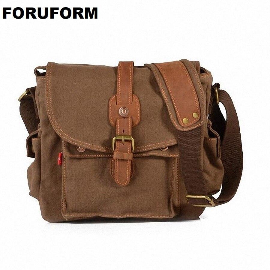 2018 Men Designer Vintage Canvas Leather School Military Shoulder Bag Men Messenger Bags Fashion Men's Travel Bags LI-1426