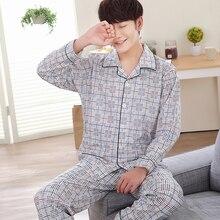 2017 Большие размеры Весна мужской пижамы трикотажные хлопчатобумажные пижамы комплект Длинные мужские трикотажные хлопковые пижамы мужские осенние пижамы установить A202