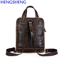 Free Shipping Hot Sale Alligator Print Genuine Leather Man Bag With Cow Leather Men Shoulder Bags