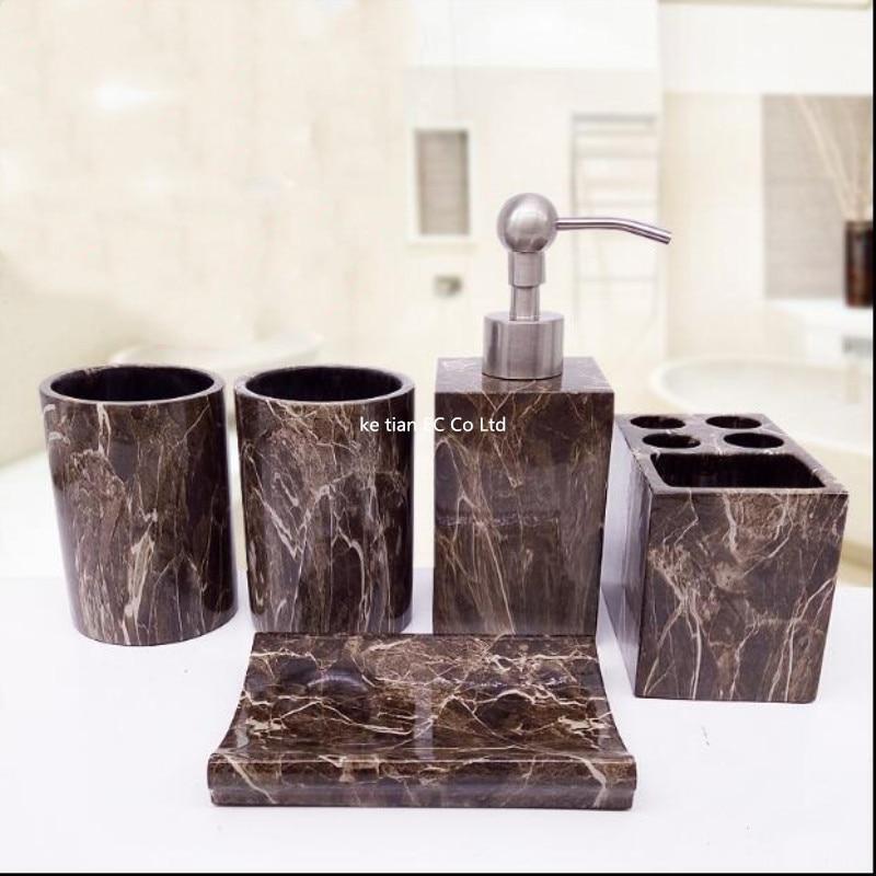European Wash Set Marble Resin Bathroom Five Piece Upscale