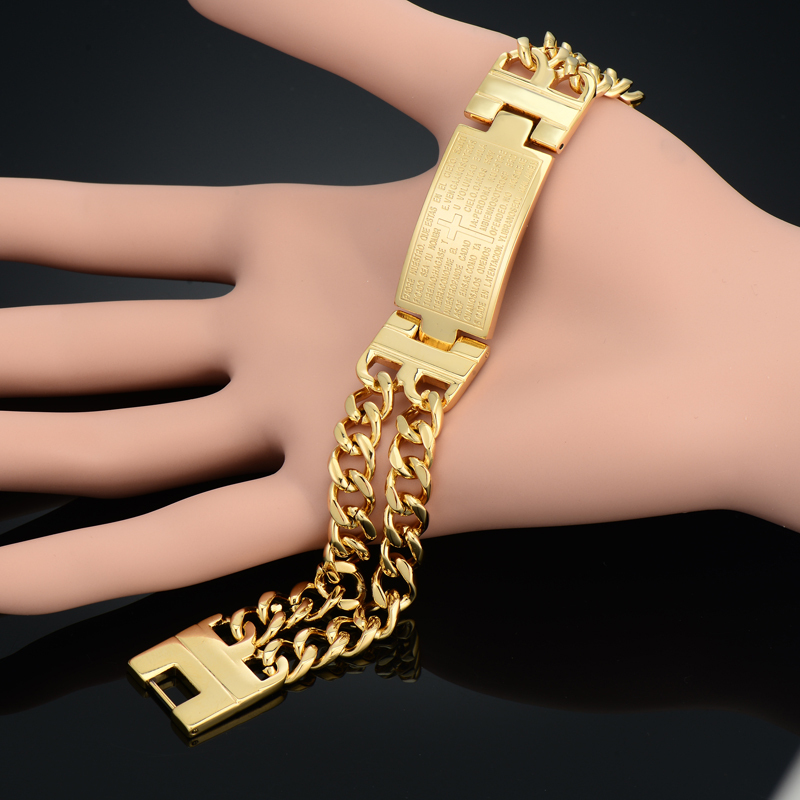 Unique Double Cuban Chain Link Bracelet Punk Male Gold Color Cross - Fashion Jewelry - Photo 3