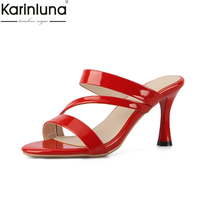 KarinLuna Plus Größe 43 Sexy Dünne High Heels 2019 Marke Neue frauen Hausschuhe Ins Style Classics Fashion Dame frauen der Schuhe-in Hausschuhe aus Schuhe bei AliExpress - 11.11_Doppel-11Tag der Singles 1