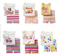 Hot 2 pz/set Vestito di Estate Del Bambino Nuovo Nato Vestiti Del Bambino gir Baby Set Ragazzi Dei Vestiti della neonata Set di Abbigliamento Infantile Abbigliamento pantaloncini