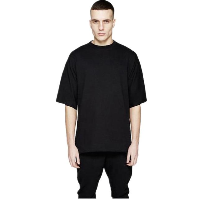 cd973161b6f Men kanye west Oversized Blank Tshirt Hip Hop 2017 New Short Sleeve Tee  Shirts Male Summer Tops Streetwear Plus Size T-Shirts