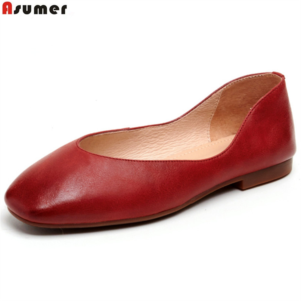 ASUMER 2018 spring autumn casual ladies single shoes square toe shallow comfortable women genuine leather flats shoes lin king fashion pearl pointed toe women flats shoes new arrive flock casual ladies shoes comfortable shallow mouth single shoes