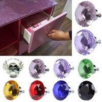 1pack/ 10Pcs 40mm Rhinestone Diamond Shape Crystal Glass Knob Cupboard Drawer Pull Handle Knob Free-shipping E2shopping  JDH99