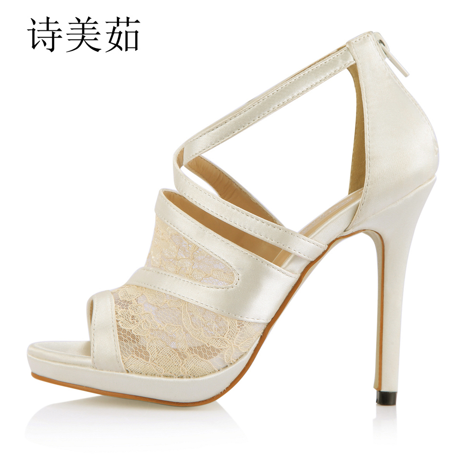 2016 New Ivory Satin Mesh Elegant Bridal Wedding Party Shoes Women Peep Toe Thin High Heels Ladies Pumps Zapatos Mujer 0640A-14a
