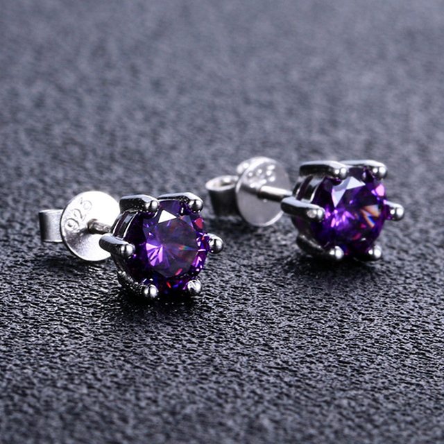 Natural Purple Amethyst Stud Earrings For Women Hotsale 925 Sterling Silver Fine Jewelry Round Cut Crystal Wedding Party Gifts