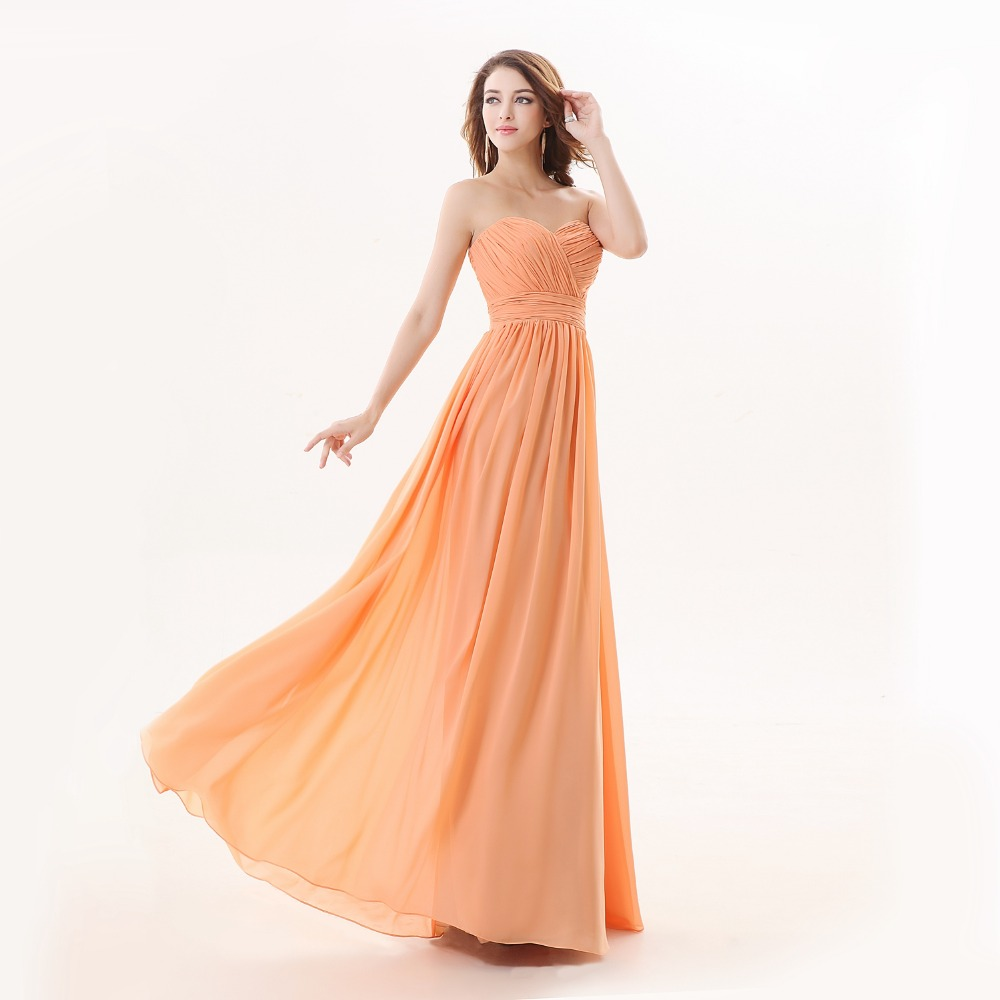 Angelsbridep Light Orange Bridesmaid Dresses Charmming Pleated Top Sweetheart Formal Prom Dress 2017 Long Special Occasion In From