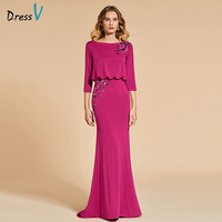 Dressv sample trumpet long evening dress elegant 3/4 sleeves backless wedding party formal dress mermaid evening dresses