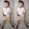 Мода Дети Мальчики Одежда Установить Белую Рубашку + Короткий Брюки 2 шт. летние Мальчиков Младенца Установленные Одежды 2-6 Детей Костюм для мальчиков