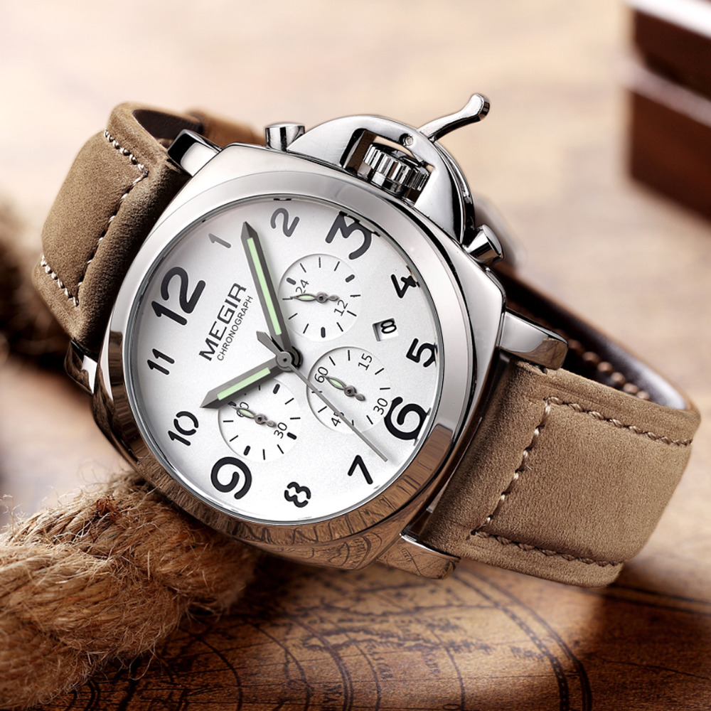 Top Luxury Brand MEGIR Watches Men Military Chronograph Clock Sports Leather Strap Casual Quartz Wrist Watch Relogio Masculino megir men s military sports watches fashion luxury top brand quartz wrist watch men leather strap clock male relogio masculino