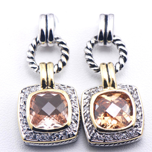 Nuevos pendientes de cristal de Plata de Ley 925 para mujer morgonita TE383