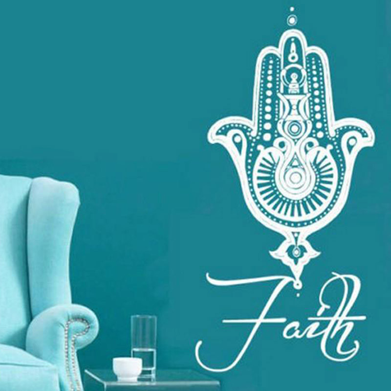 Wall Decals Yoga Mandala Fatima Hand Hamsa pegatinas de pared Decal Vinyl Poster Background Wall Stickers