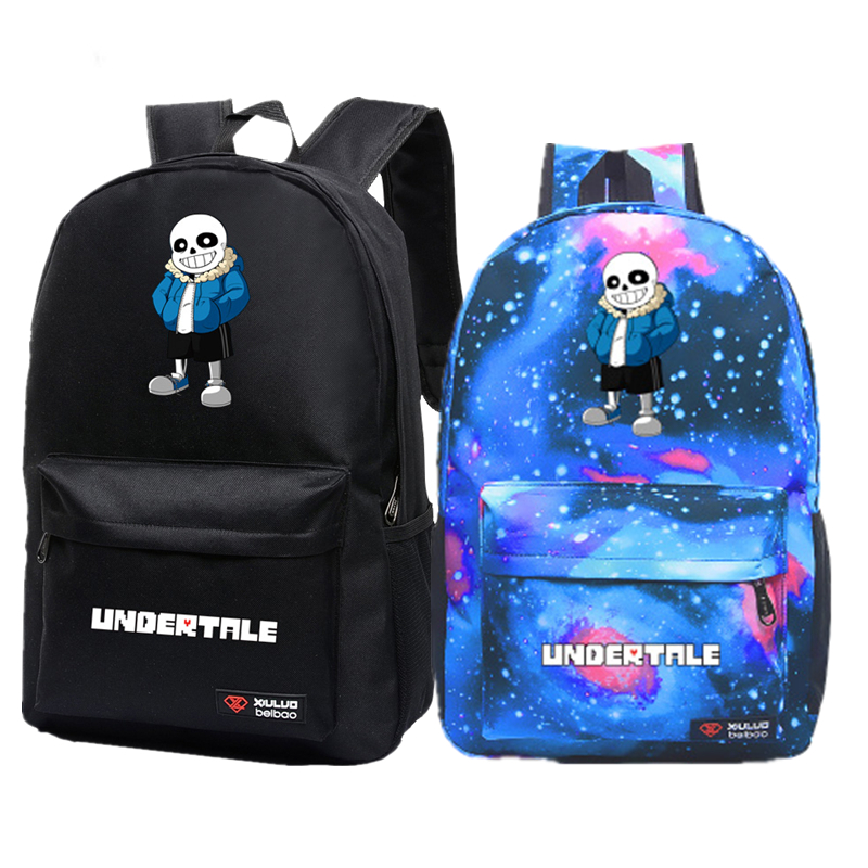 2017 New Game Undertale Sans Papyrus Skeleton Galaxy Luminous Printing Backpack Canvas School Bags Mochila Feminina Laptop Bags видеокарта пк asus 1gb r7240 1gd3 r7240 1gd3