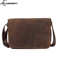 Crazy horse leather men's cross section retro shoulder bag handmade first layer Brown leather briefcase Messenger 13 Laptop bag