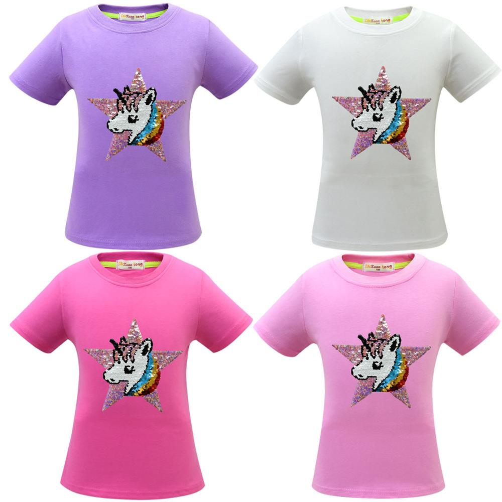 Unicorn T Shirt Baby Girl Summer Clothes Camiseta Unicornio Tshirt Girls Tops Femme Kid Tee Enfant Birthday Party Color Sequins 3