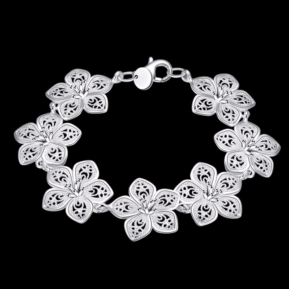 LEKANI hot sale 925 Sterling Silver Plum bracelet beautiful flowers for women classic high- quality fine jewelry 4