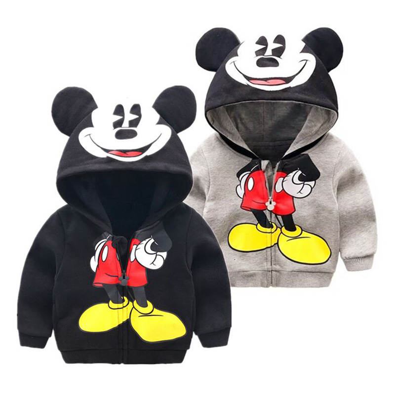 Toddler Boy Jacket 2019 Spring Autumn Fashion Cute Kids Girl Outerwear Cartoon Mouse Clothes Hooded Coat Children Zipper Hoodies
