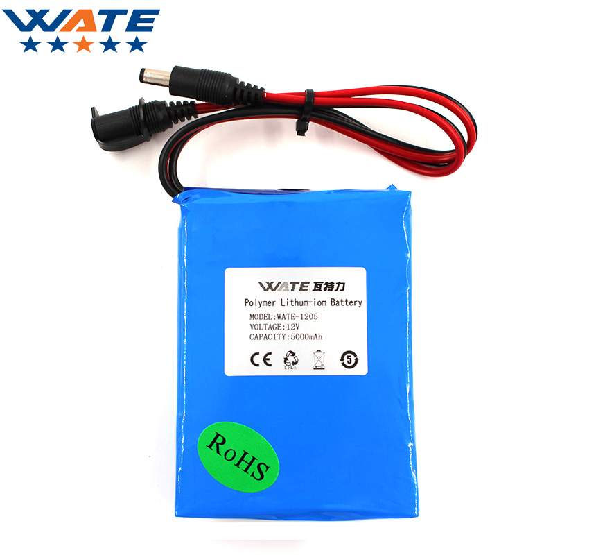 WATE 12V 5000mAh Li-ion battery pack DC 5A current discharge 12V li-ion polymer battery With 12.6V1A charger