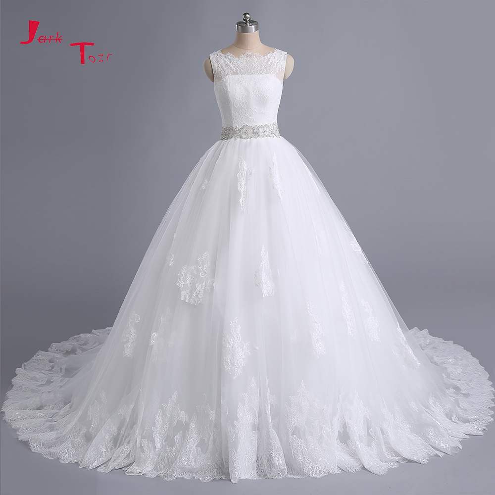 Jark Tozr Custom Made Beading Crystal Waist Lace Vintage Bridal Ball Gown Wedding Dresses With Petticoat 2018 Vestidos De Noiva
