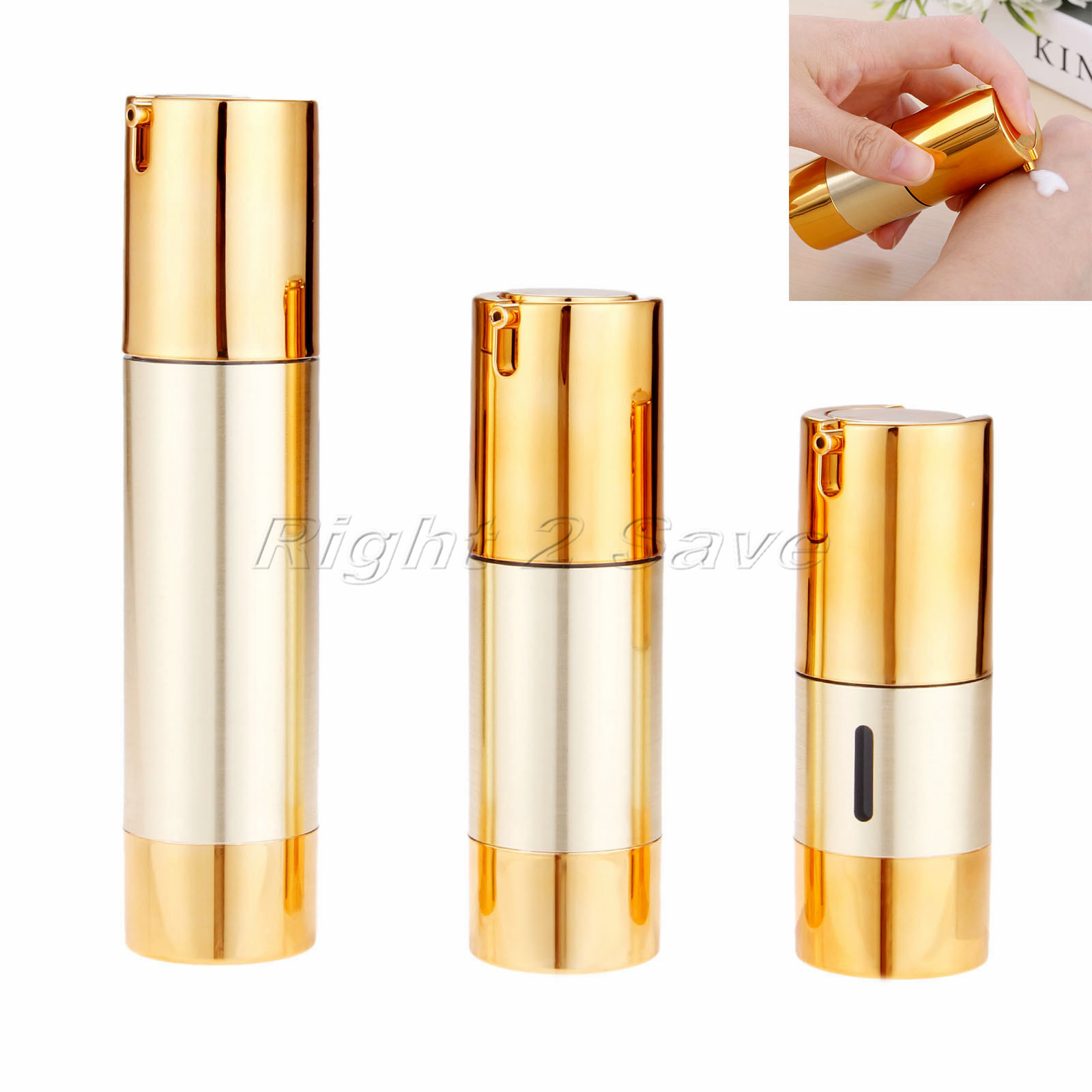 Gold Vacuum Bottle Pump Airless Luxury Portable Cosmetic Lotion Treatment Travel Empty Bottle Container 15ml/30ml/50ml