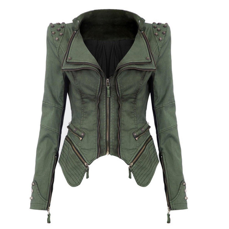 Для женщин джинсовая куртка в стиле панк заклепками пальто с лацканами