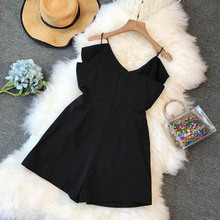 NiceMix Korean Fashion Clothing ruffle Rompers Women Jumpsuit Shorts New Casual Loose Solid Color 2019 Playsuits Summer