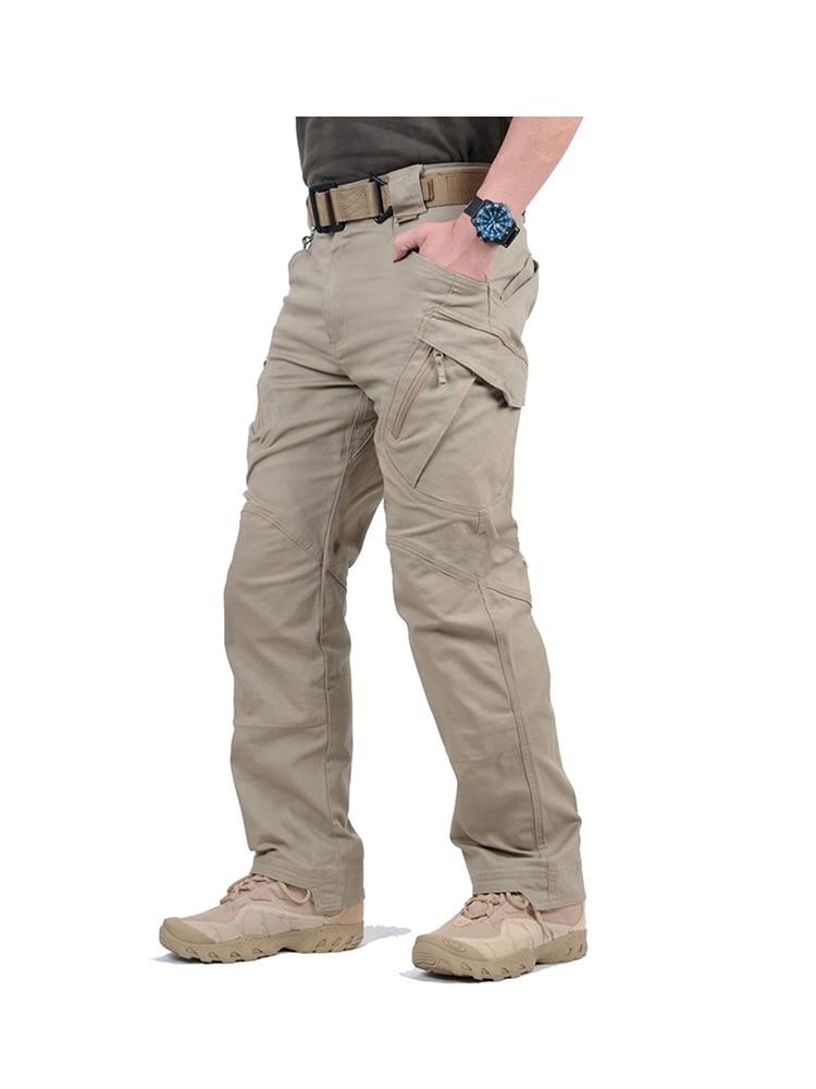 SHOWNO Mens Summer Outwear Military Multi Pockets Straight Leg Cargo Pants